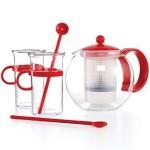 Ensemble Théière BODUM K1844-294 avec 2 mugs et 2 cuillères rouge