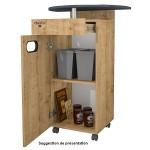 Meuble pour machine à café avec tiroir et deux poubelles (chêne clair) MAPALGA
