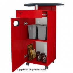 Meuble MAPALGA Rouge pour machine à café avec tiroir et deux poubelles