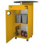 Meuble MAPALGA Jaune pour machine à café avec tiroir et deux poubelles