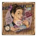 Plaque décorative C'est l'heure du thé 19x19 cm