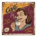 Plaque décorative Le Café 19x19 cm
