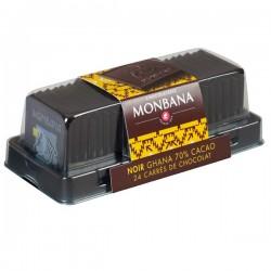 Réglette 24 carrés de chocolat noir origine Ghana 95g MONBANA