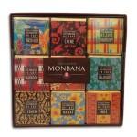 """Coffret collection 18 carrés de chocolat noir 70% cacao aux fèves de cacao torréfiées """"Pays producteurs de café""""  70g MONBANA"""