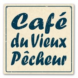 Plaque décorative Café du Vieux Pêcheur 19x19 cm