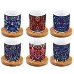 Coffret de 6 tasses à café 11 cl  Floral - EASY LIFE
