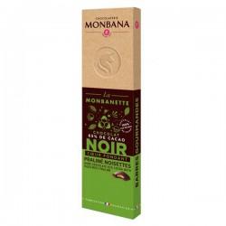 La MONBANETTE barre de chocolat NOIR coeur fondant Praliné noisettes - 40g - MONBANA