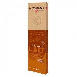La MONBANETTE barre de chocolat LAIT cœur croustillant praliné noisette et éclats de caramel - 40g - MONBANA