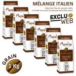 Pack x 6 Café grain MELANGE  ITALIEN - 1Kg - MAPALGA