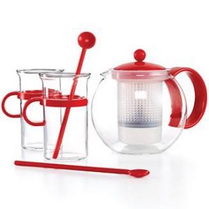 Ensemble Théière BODUM K1844-294 avec 2 mugs et 2 cuillères rouges
