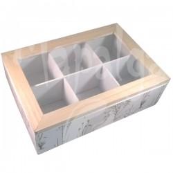 Boite à thé bois 6 compartiments